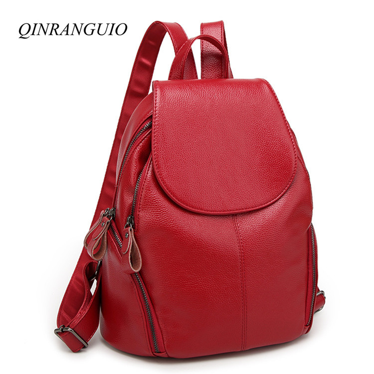 QINRANGUIO PU Leather Backpack Women Fashion Travel Backpack 2019 Women Backpack Soft Leather School Bags for Teenage GirlsQINRANGUIO PU Leather Backpack Women Fashion Travel Backpack 2019 Women Backpack Soft Leather School Bags for Teenage Girls