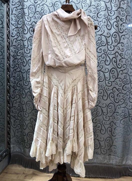 Femmes Mode top Qualité À Tops Dentelle 2 De Cravate Set 1pc Arc Pc La Élégant Vêtements Designer Longue Patchwork Maxi Top Costume Jupe Blouse Automne Skirt 2018 Szdwvv