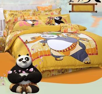 Kung Fu Panda Full Queen King 4Pcs Lovely Cartoon Bedding sets 100% Cotton Sanding Duvet cover Bed sheet set hello kitty yellow