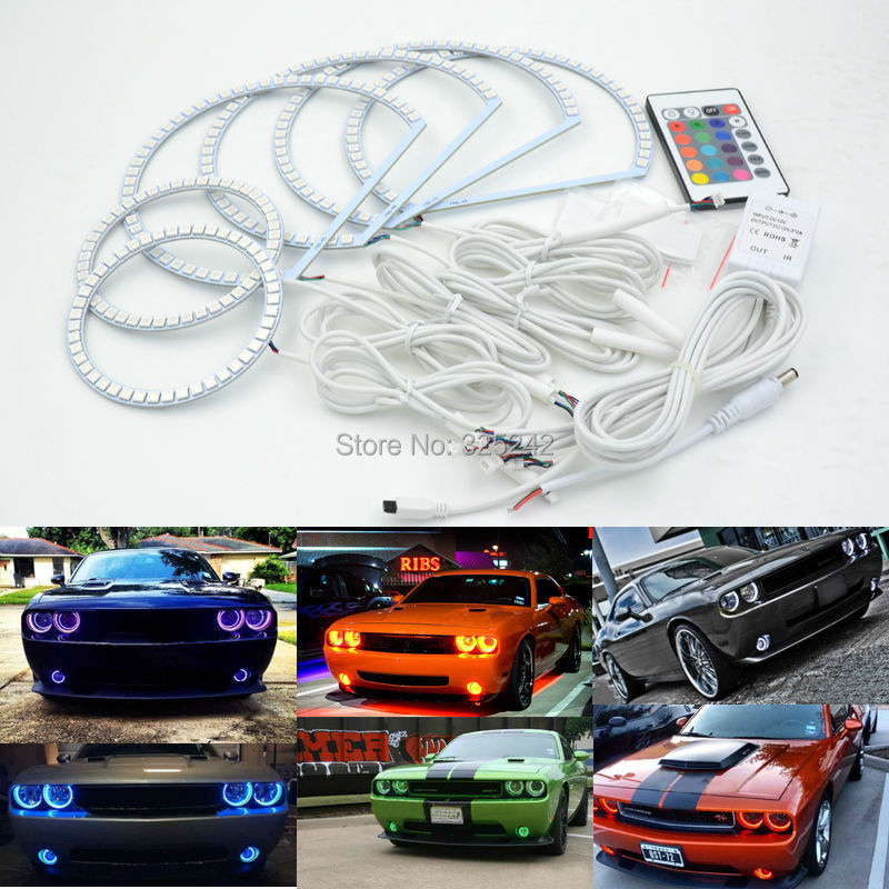 For Dodge Challenger 2008 2014 Excellent RGB Angel Eyes kit Multi Color Ultrabright RGB LED Angel