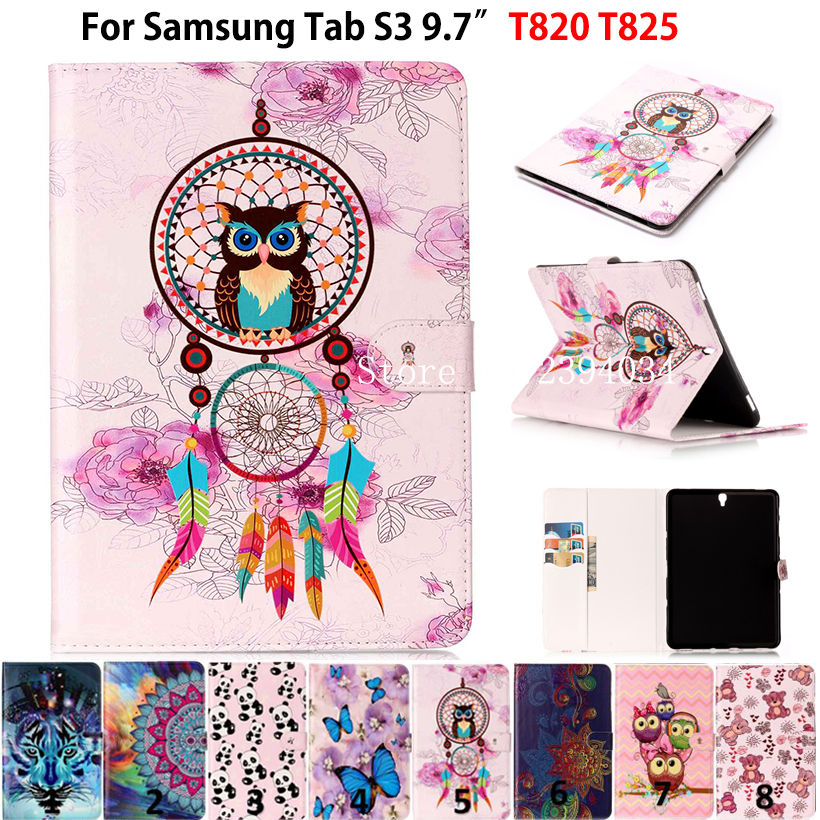 Fashion Cartoon Kids Case For Samsung Galaxy Tab S3 9.7 T820 SM-T825 Cases Smart Cover Funda Tablet PU Leather Stand shell Coque luxury flip stand case for samsung galaxy tab 3 10 1 p5200 p5210 p5220 tablet 10 1 inch pu leather protective cover for tab3