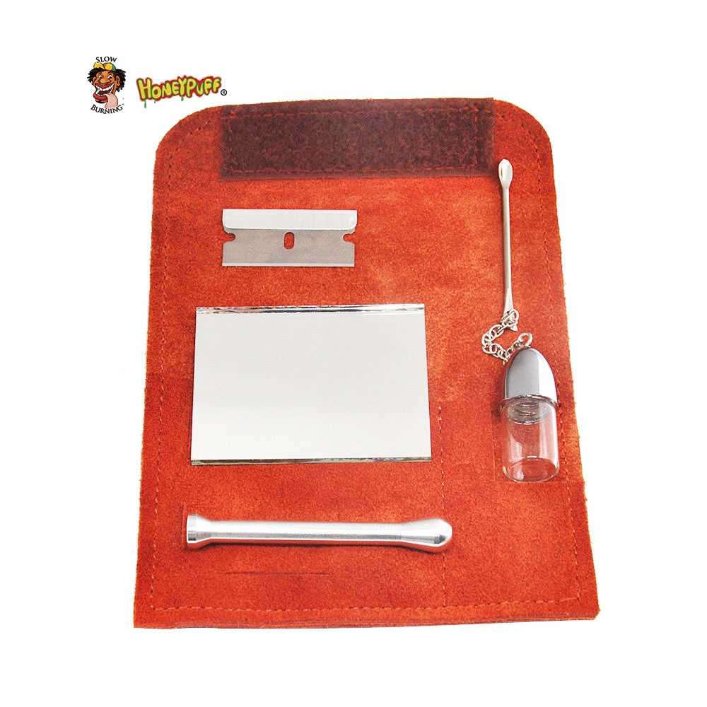 HONEYPUFF 100% ยาสูบหนังกระเป๋า + Snuff Bullet Snorter เครื่องมือ Sniffer ฟาง Hooter Hoover ท่อกระเป๋า