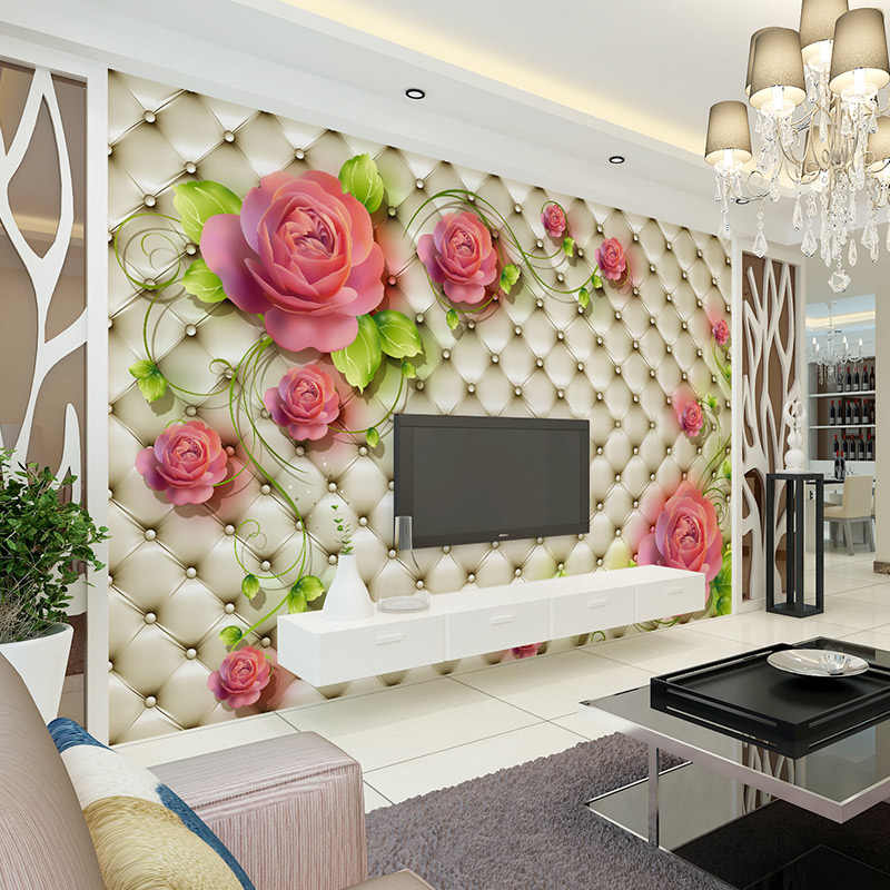 Custom 3D Mural Wallpaper Stereoscopic Soft Package Flower TV Background Wall Decorations Living Room Bed room Wallpaper Modern