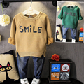 Children boys print letter sweatshirts Baby boy Long sleeve Cotton fleece cashmere winter warm sweater coat Thickness boy coats