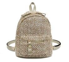 Summer Preppy Style Backpack Teenage Girl School Fashion Straw Weaving Simple Retro Travel Shoulder Bag D130