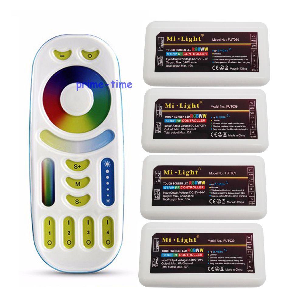все цены на MiLight RGB CCT (RGB+Cool White+Warm White) Controller DC12-24V 2Ax5CH FUT039 + 2.4G RF Wireless RGB+CCT 4-Zone Touch Remote онлайн