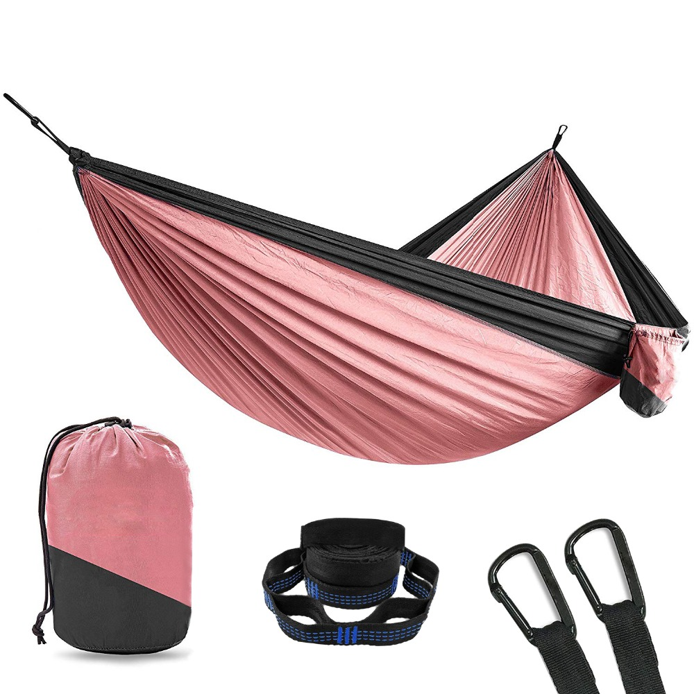 Portable parachute nylon fabric travel ultralight camping hamak outdoor furniture casual hanging bed hamac double person hammock in hammocks from furniture