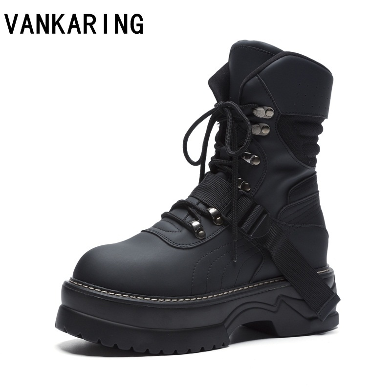 VANKARING fashion motorcycle boots leather autumn winter lace-up high heel shoes black ankle boots woman platform military boots facndinll brand genuine leather ankle boots for women wedge high heel black lace up fashion autumn winter shoes motorcycle boots