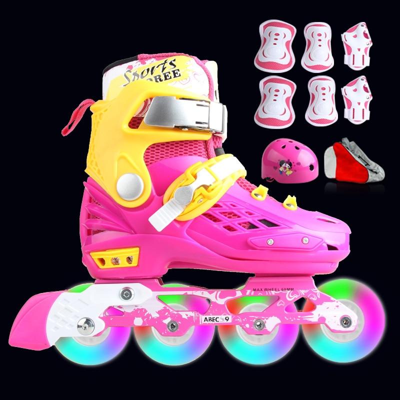プロフェッショナルソフト子供のローラーブレードインラインスケート靴点滅 4 ホイール屋外 Fingure スケート靴 Patins  グループ上の スポーツ & エンターテイメント からの スケートシューズ の中 1
