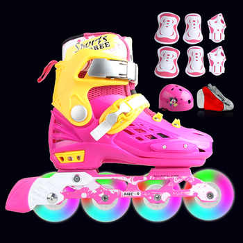 Professional Soft Roller Skates For Kids Rollerblade Inline Skates Shoes Flashing 4 Wheels Outdoor Fingure Skating Shoes Patins - DISCOUNT ITEM  16% OFF Sports & Entertainment