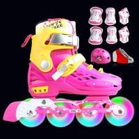 Professional Soft Roller Skates For Kids Rollerblade Inline Skates Shoes Flashing 4 Wheels Outdoor Fingure Skating Shoes Patins