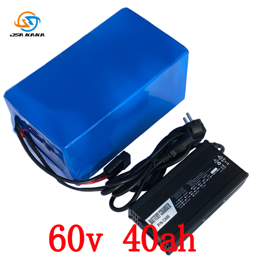 High Power 6000W 3000W E-Bike Battery 60V 40Ah Lithium With 5A Charger Electric Bicycle Battery Free shipping 67 2v 1 5a charger 60v 1 5a power adapter for 60v 16s lithium li ion e bike bicycle electric bike battery 3 prong inline