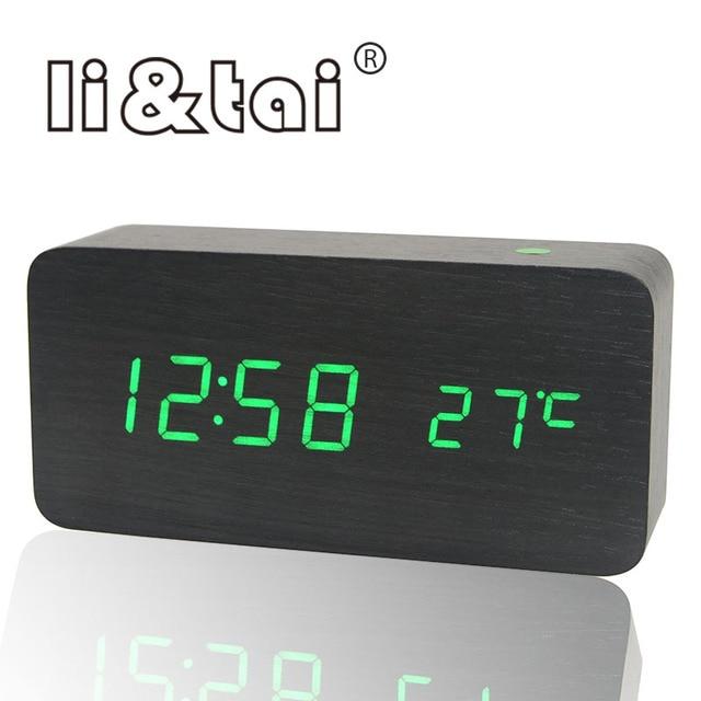 0f60358c3b7 Soa Controle de Temperatura Calendário Digital Relógio Despertador Estilo  moderno Escritório Em Casa de Madeira Relógio