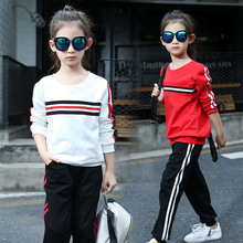 Autumn New Girls Korean Fashion Casual Suits Long Female Two Pieces Kids Clothing Sets White Red