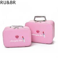 RU&BR New Arrival Women Cosmetic Case Fashion PU Cosmetic Bags Box Makeup Bag Beauty Case Travel Bags Jewelry Display Case