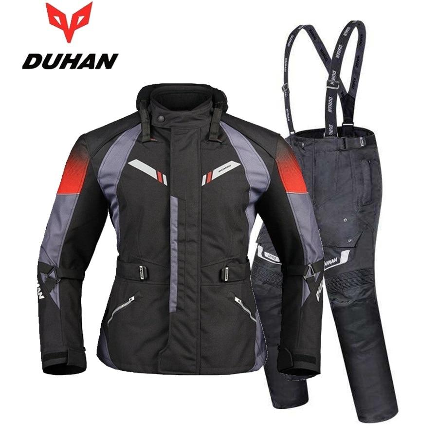 Trasporto libero 1 set Autunno Inverno Mens Moto Impermeabile Caldo Cordura Tessile Giacca Moto Armours Moto Giacca e Pantaloni