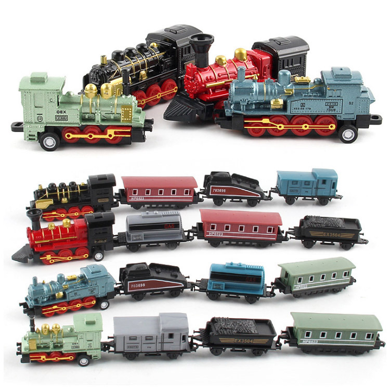 4pcs/set High Simulation Steam Train Model Toys Pull Back Alloy Headstock Train Toys For Children Collection Best Gifts