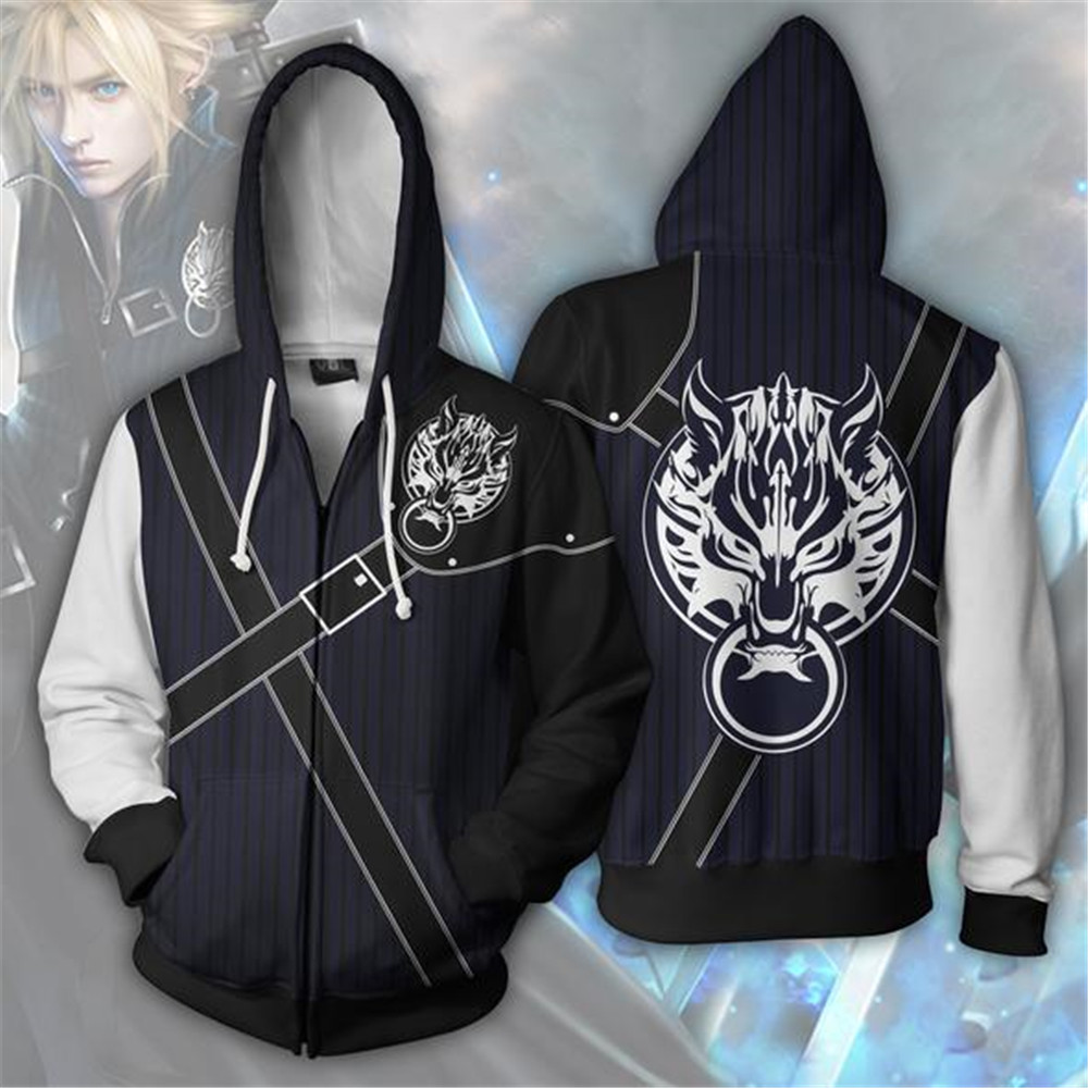 Final Fantasy VII:Advent Children Cosplay Costumes Zipper Hoodies Sweatshirts Printing Unisex Adult man and women Clothing