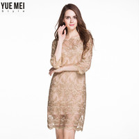 2017 Gold Color Women Dress O Neck Lace Embroidery 3 4 Sleeve Elegant A Line Hollow
