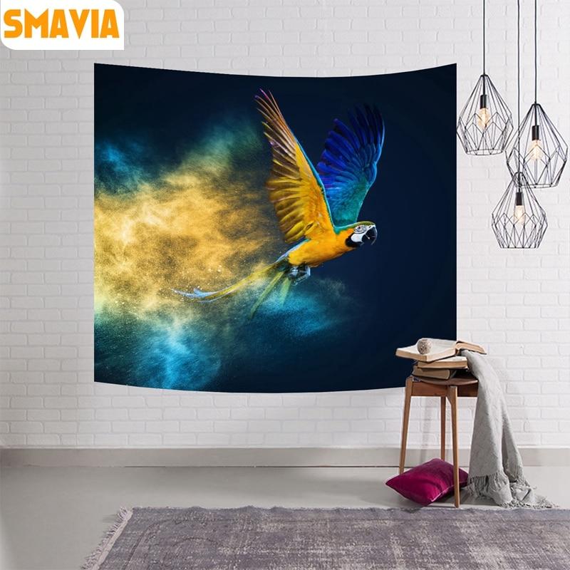 SMAVIA Papageien Wandbehang Tapisserie Tier Vgel Polyester Decke Dekoration Badetuch Picknick Matte Tischdecke 4 Grssen 1 Stck