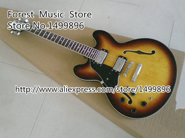 Cheap Top Quality Musical Instrument Vintage Sunburst Hollow binding Body Lefty ES Electric Guitar China For Sale