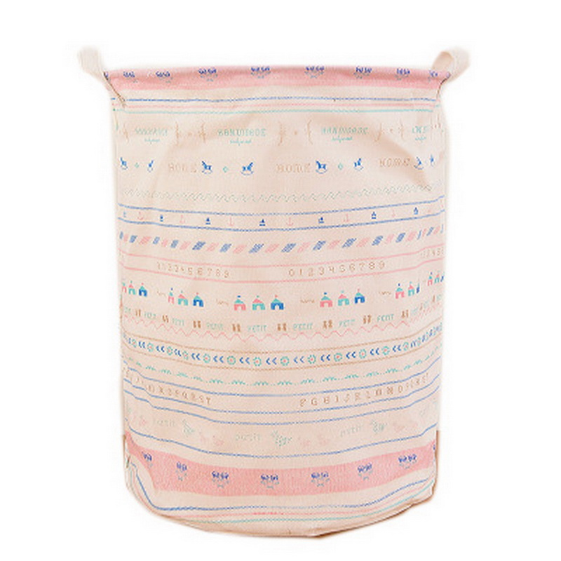 1pcs Unique Foldable Cotton Linen Washing Clothes Laundry Basket Bag Hamper Storage