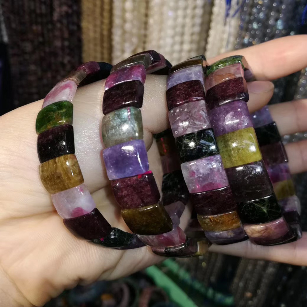 Natural Tourmaline Stone Beads Bracelet Natural Energy Stone Bangle Gemstone Jewelry For Woman For Gift Wholesale !