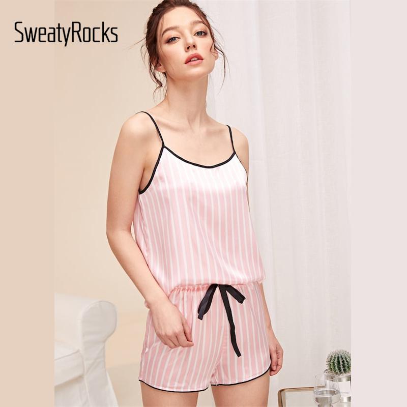 SweatyRocks Pink Striped Satin Cami Top And Shorts PJ   Set   Kawaii Sleeveless   Pajamas   For Women Short   Sets   Summer   Pajama     Sets