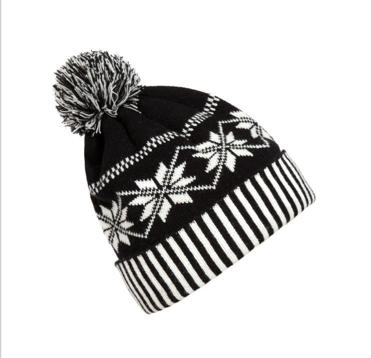 648b1424545d83 Women Men Fashion Pom Pom Beanie Knitted Crochet Winter Ski Warm Hat Cap  Snowflake Beanie Black