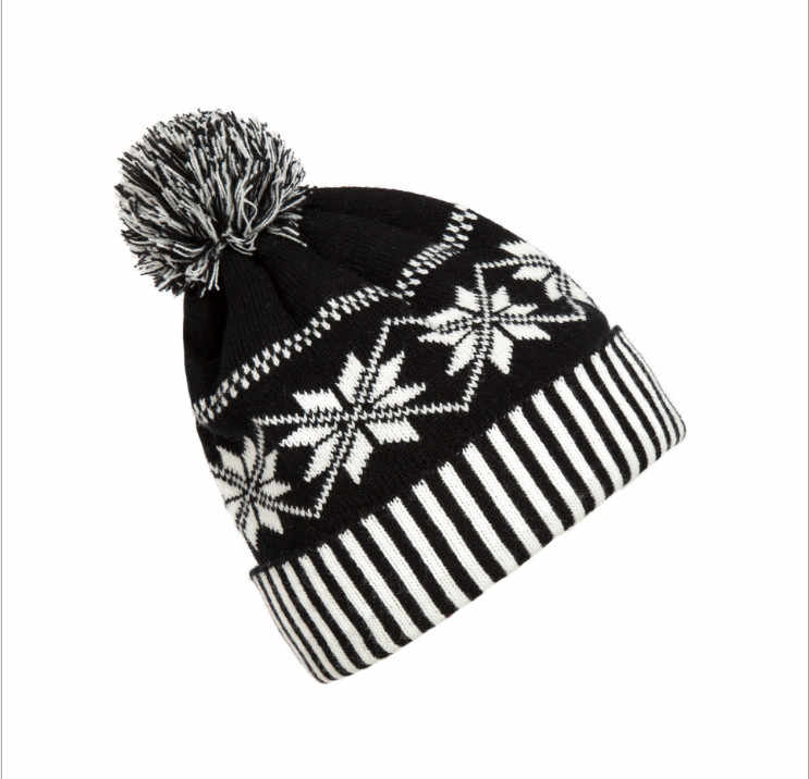 Detail Feedback Questions about Women Men Fashion Pom Pom Beanie Knitted  Crochet Winter Ski Warm Hat Cap Snowflake Beanie Black And White Striped  Cuff Ski ... c17a694f7a3