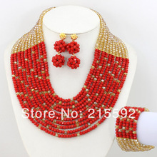 2014 New Fashion 10 Rows African Beads Jewelry Set Champagne&Red Bridal Jewelry Set Crystal Wholesale Free Shipping AJS138