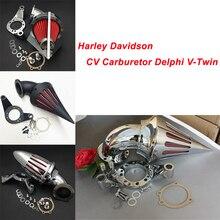 For Harley Davidson CV Carburetor Delphi V-Twin Motorcycle Air Cleaner Kit Intake Filter Black Chrome