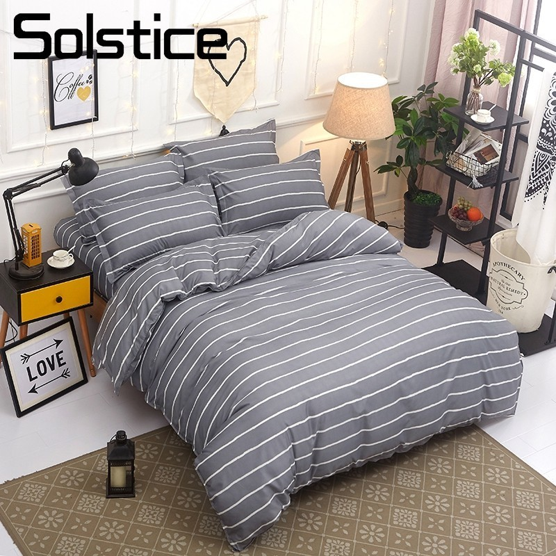 Solstice Home Textile Twin Queen King Bedding Sets For Girl Boy Kid Teen Gray Stripe Duv ...