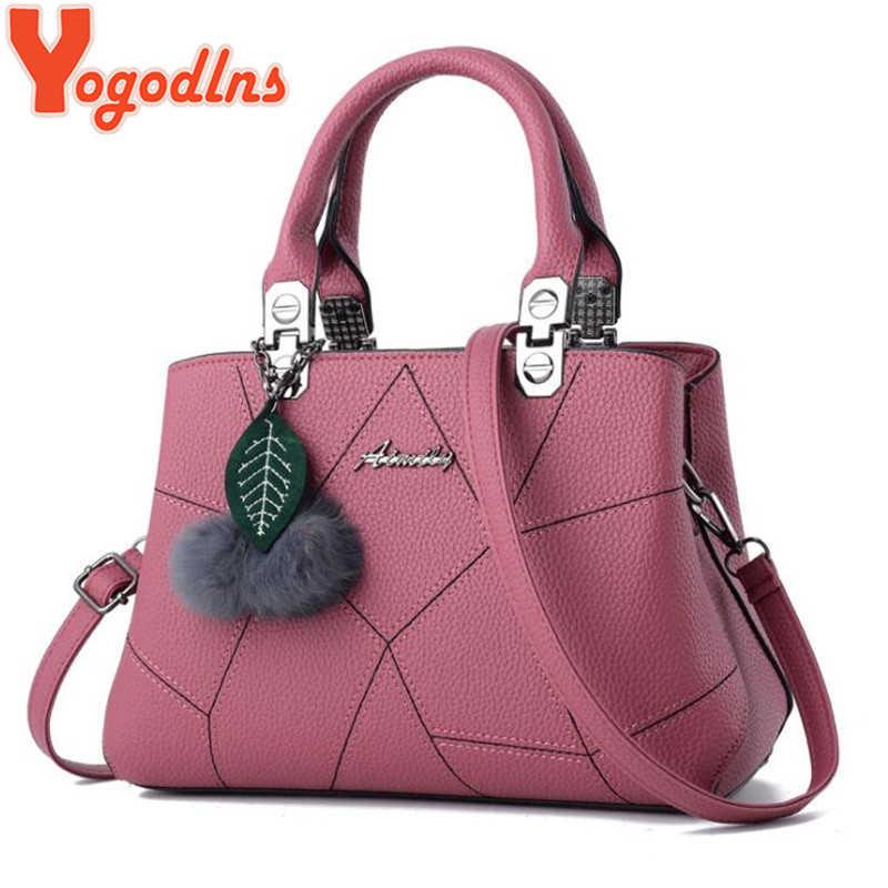 Yogodlns bolsos de mano de cuero PU para mujer bolsos de hombro de alta calidad para mujer Bolso bandolera con colgante de Bola de Pelo 8 colores