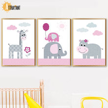 Giraffe Elephant Hippo Nordic Posters And Prints Wall Art Canvas Painting Animal Wall Pictures Kids Baby Girl Room Home Decor(China)