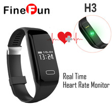 Finefun H3 Bluetooth 4.0 монитор сердечного ритма, шагомер Водонепроницаемый спорта и фитнес-трекер для Android IOS Smart Браслет