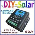 50A Solar Charge Controller 12V 24V Auto-work Battery Regulator, 12V for 600W PV Panel, 24V Battery for 1200W Solar Panel System