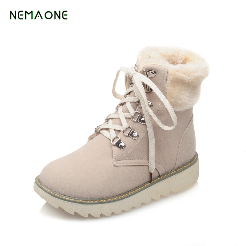 NEMAONE 2017 NEW Snow Boots Women Winter BLACK Flat Platform Ankle Boots Ladies Fur Warm Australia Boots 2016 rhinestone sheepskin women snow boots with fur flat platform ankle winter boots ladies australia boots bottine femme botas