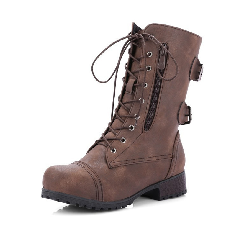 LIN KING New Plus Size Retro Women Western Boots Punk Lace Up Buckle Motorcycle Boots Zipper Mid Calf Boots Ladies Short Botas in Mid Calf Boots from Shoes