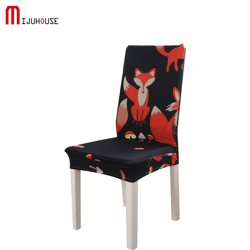 Printing Solid Color Dining Room Chair Cover Spandex Stretch Polyester Seat Cover Anti-dirty Chair Protective Case For Restauran