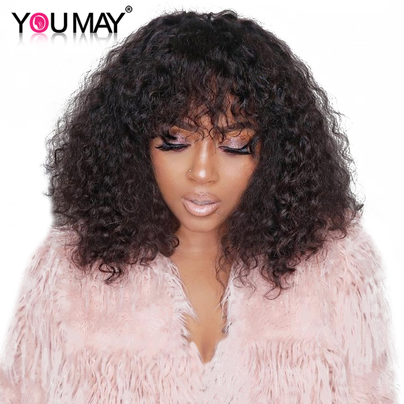 250 Density Brazilian Curly Human Hair Wigs With Bangs 13x6 Lace Front Wigs For Women 360