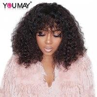 250% плотность бразильские вьющиеся человеческие волосы парики с челкой полный концы Кружева передние парики для женщин натуральный черный