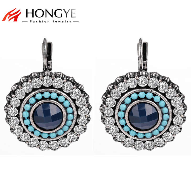 Vintage Silver Earrings for women Round Crystal Handmade Fashion Jewelry Clip Earrings Christmas Gift Brincos 2018