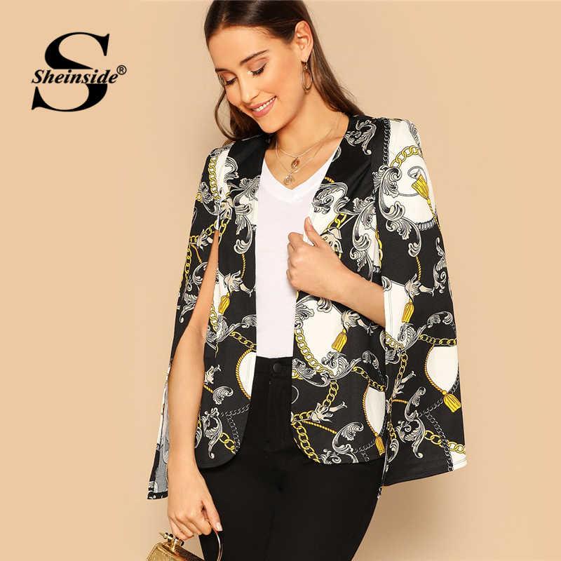 dbb6c224bf Sheinside Office Ladies Chain Print Cape Suits   Blazer Female Asymmetrical  Outerwear Cloak Sleeve OL Women