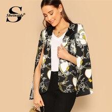 Sheinside женские офисные цепи печати мыс костюмы и Блейзер Женский Асимметричный верхняя одежда плащ рукавом OL для женщин пиджаки для