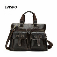 Guaranteed genuine leather bag Men's Briefcase men messenger bags natural cowskin 14″ laptop handbag man EVISPO 2017