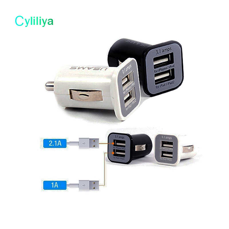 10 pcs/lot 3.1A Ganda Port USB Charger Mobil 5 V 3100 mAh Untuk iPhone 4 5 6 7 iPAD ipod Samsung HTC Huawei S7 S8