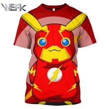 Anime Pokemon Fashion Pop T-Shirt Summer New Men's and Women's Short Sleeve Sweatshirt 3D Print Round Neck Short Sleeve T-Shirt