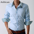 2016 New Autumn Men's Casual Dress Shirts Long Sleeve Solid Cotton Blue and White Male Slim Official Shirts Plus Size M-XXXXL
