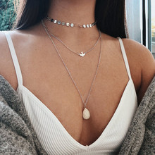 Women's Multi-layer Necklace Pendant Necklace Small Round Sequins Chain Peace Dove Bird Drops Pendant Multi-layer Necklace(China)